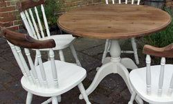 Shabby-chic painted kitchen furniture