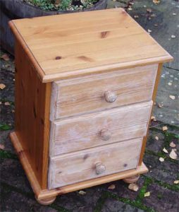 Bedside table before its shabby chic treatment