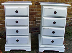 Bedside tables after shabby chic paint and wax