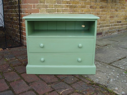 Green painted tv cupboard